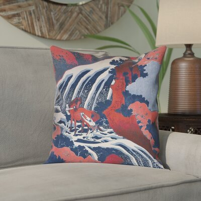 Channelle Horse and Waterfall Square Pillow Cover Size: 16 x 16, Color: Red/Blue