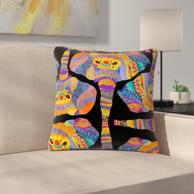 Pom Graphic Design the Elephant in the Room Rainbow Tribal Outdoor Throw Pillow Size: 18 H x 18 W x 5 D