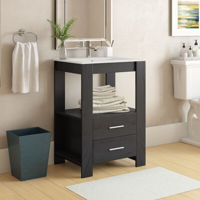 Starks 24 Single Bathroom Vanity Set Base Finish: Black