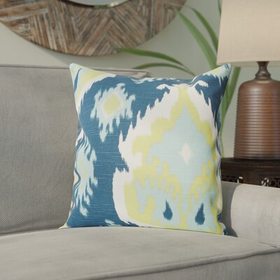 Emmitt Ikat Cotton Throw Pillow Color: Blue Green, Size: 18 H x 18 W