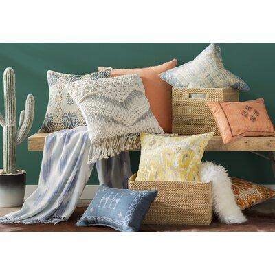 Clara Ikat Cotton Throw Pillow Color: Lemon, Size: 18 H x 18 W