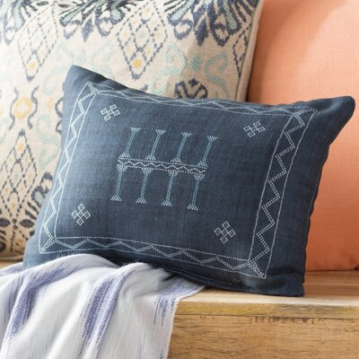 Shani Lumbar Pillow Color: Navy, Size: 12 x 16