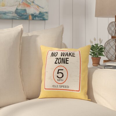 Golden Beach No Wake Word Throw Pillow Size: 18 H x 18 W, Color: Yellow