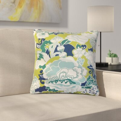 Summerall Floral Cotton Throw Pillow Color: Aqua Green