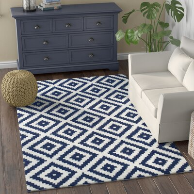 Hillsdale Hand-Tufted Navy Area Rug Rug Size: Rectangle 5 x 8