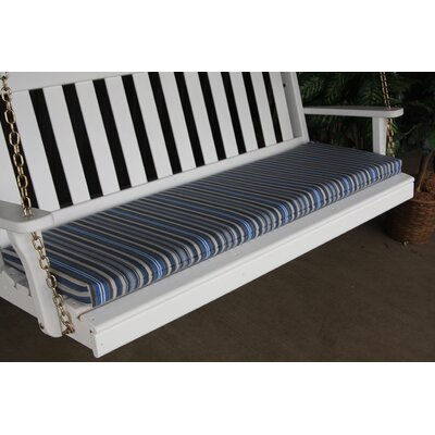 "Image of Outdoor Bench Cushion Fabric: Blue Stripe, Size: 2"" H x 45"" W x 17"" D"