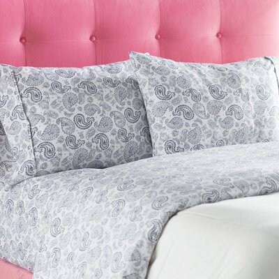 Tarsha Ultra Soft Coarse Paisley Pattern Sheet Set Size: Queen, Color: Navy