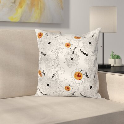 Modern Waterproof Floral Graphic Print Pillow Cover with Zipper Size: 18 x 18