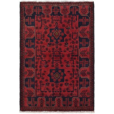 One-of-a-Kind Izayah Hand-Knotted Wool Dark Red Area Rug