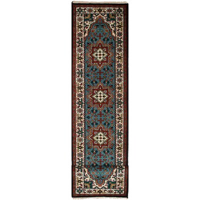One-of-a-Kind Issac Hand-Knotted Wool Turquoise Area Rug
