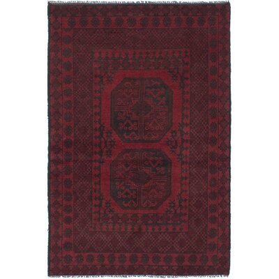 One-of-a-Kind Izquierdo Hand-Knotted Wool Dark Red Area Rug