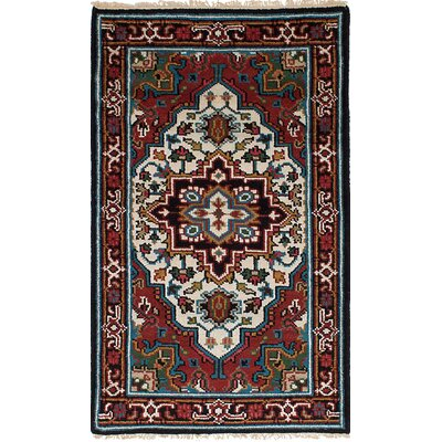 One-of-a-Kind Issac Hand-Knotted Wool Cream/Dark Red Area Rug