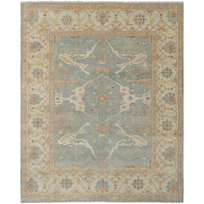 One-of-a-Kind Itchington Hand-Knotted Wool Light Blue Area Rug