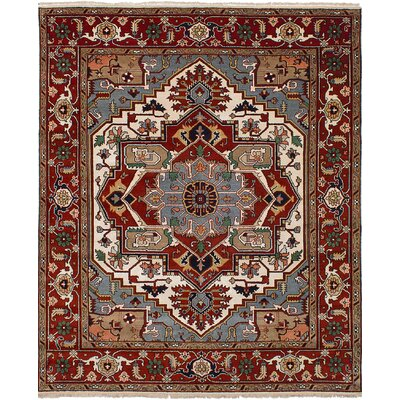 One-of-a-Kind Ismail Hand-Knotted Wool Cream/Red Area Rug