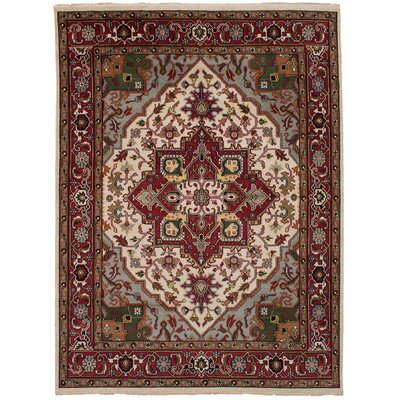 One-of-a-Kind Issac Hand-Knotted Wool Cream/Red Area Rug