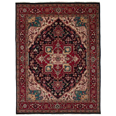 One-of-a-Kind Issac Hand-Knotted Wool Black/Red Area Rug