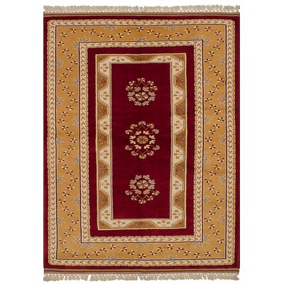 One-of-a-Kind Jacobsen Hand-Knotted Wool Dark Red Area Rug