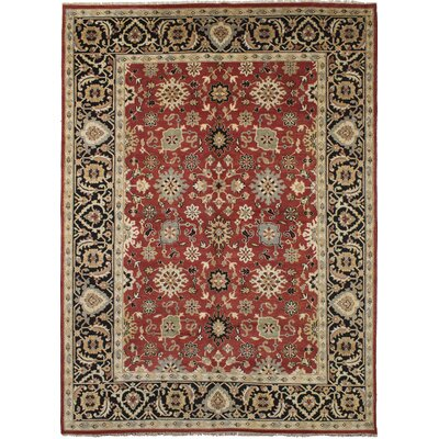 Ismail Hand-Knotted Wool Red Area Rug