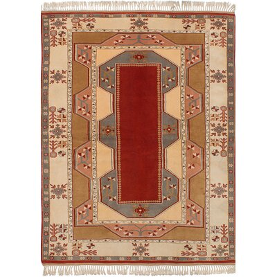 One-of-a-Kind Jacobsen Hand-Knotted Wool Red/Ivory Area Rug