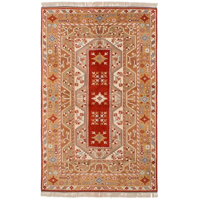 One-of-a-Kind Jacquez Hand-Knotted Wool Red/Tan Area Rug