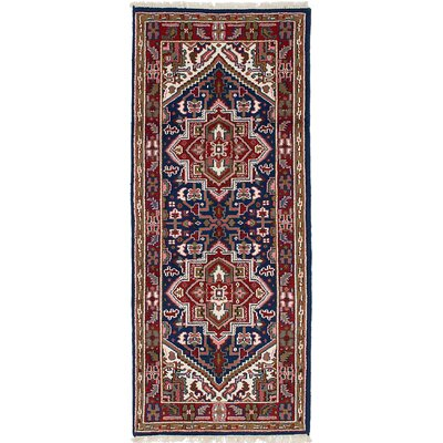 One-of-a-Kind Issac Hand-Knotted Wool Navy Blue/Red Area Rug