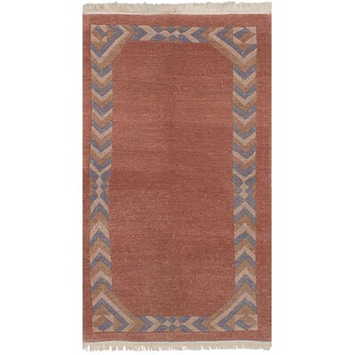 One-of-a-Kind Polito Hand-Knotted Wool Peach/Blue Area Rug