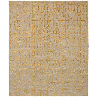 One-of-a-Kind Konopka Hand-Knotted Gold/Beige Area Rug