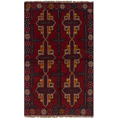 One-of-a-Kind Izzo Hand-Knotted Wool Red/Beige Area Rug