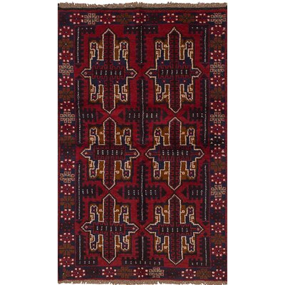 One-of-a-Kind Izzo Hand-Knotted Wool Red/Blue Area Rug