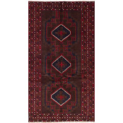 One-of-a-Kind Jaheim Hand-Knotted Wool Dark Brown/Red Area Rug