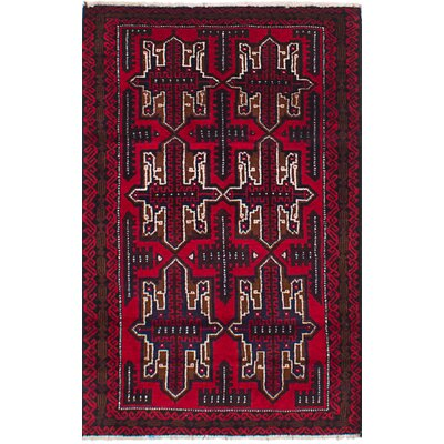 One-of-a-Kind Kang Hand-Knotted Wool Red/Beige Area Rug