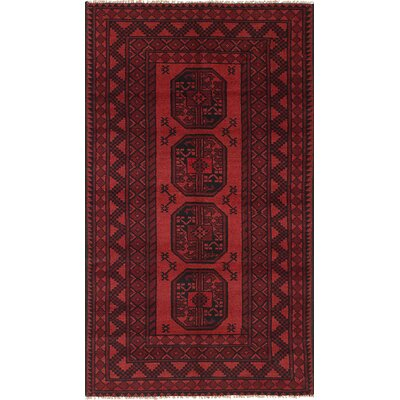One-of-a-Kind Izquierdo Hand-Knotted Wool Red/Black Area Rug