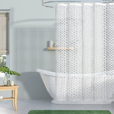 Cristian Clipped Shower Curtain Color: White