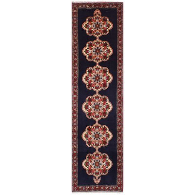 One-of-a-Kind Ivery Hand-Knotted Wool Dark Navy/Red Area Rug