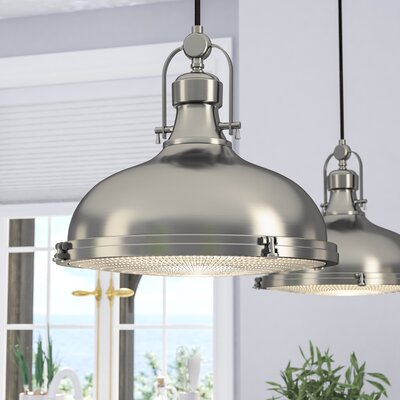 Freeda 1-Light Schoolhouse Pendant Size: 10.5 x 12.125 x 12.125, Finish: Brushed Nickel