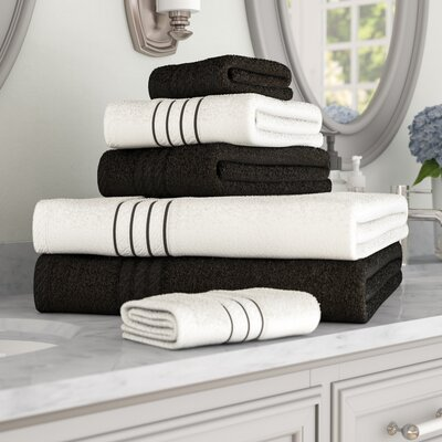 Shelbyville Stripe and Contrast 6 Piece Towel Set Color: Black/White