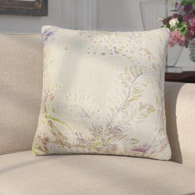 Letizia Floral Linen Throw Pillow Color: Tan