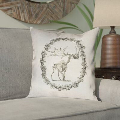 Brie Vintage Elk Skeleton Throw Pillow Size: 14 x 14