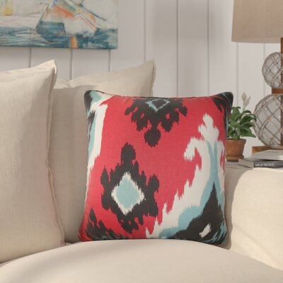 Merganser Ikat Cotton Throw Pillow Color: Red
