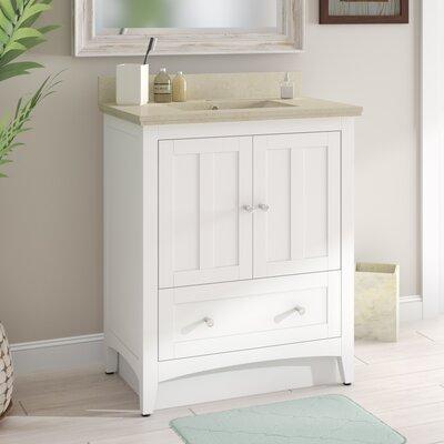 Artic 31 Single Bathroom Vanity Set Base Finish: White, Sink Finish: White, Faucet Mount: Single Hole