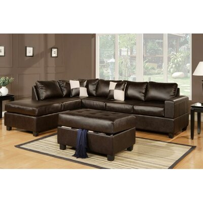 Marquise Reversible Sectional With Ottoman Upholstery: Espresso