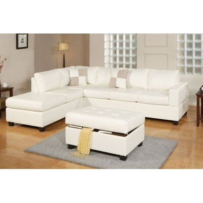 Marquise Reversible Sectional With Ottoman Upholstery: White