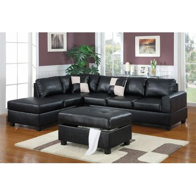Marquise Reversible Sectional With Ottoman Upholstery: Black