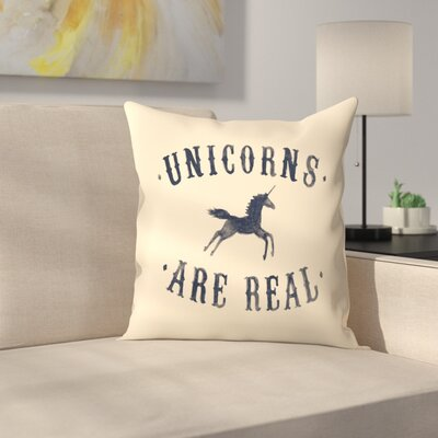 Florent Bodart Unicorns are Real Il Throw Pillow Size: 16 x 16