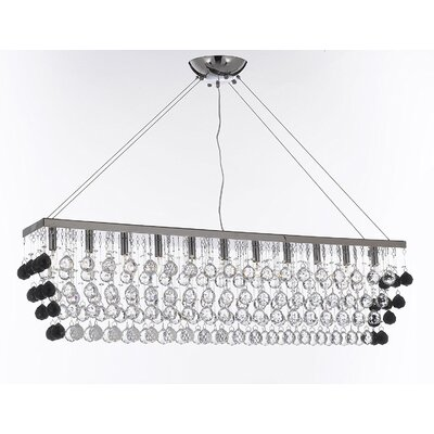 Penright 11-Light Crystal Pendant Crystal Color: Clear/Black