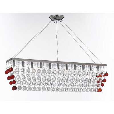 Penright 11-Light Crystal Pendant Crystal Color: Clear/Red