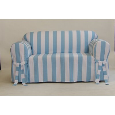 Stripe Box Cushion Slipcover Upholstery: Blue, Size: 38 H x 72 W x 36 D
