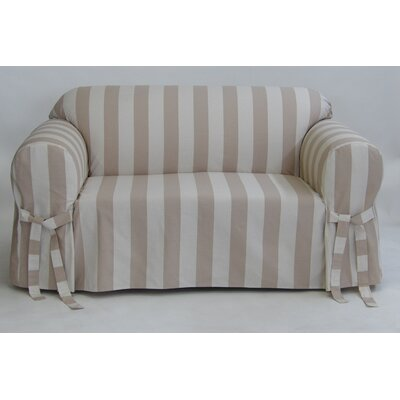Stripe Box Cushion Slipcover Upholstery: Taupe, Size: 38 H x 96 W x 36 D
