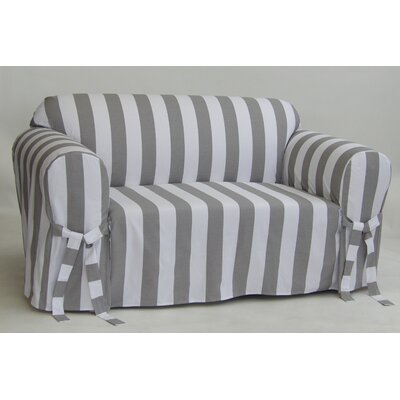Stripe Box Cushion Slipcover Upholstery: Gray, Size: 38 H x 96 W x 36 D