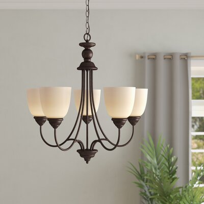 Weatherly 5-Light Shaded Chandelier Finish: Burnt Sienna, Shade Color: Caf�